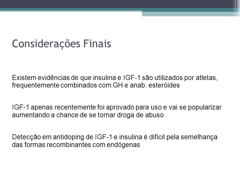 Considerações Finais Existem evidências de que insulina e IGF-1 são utilizados por atletas, frequentemente combinados com GH e anab. esteróides IGF-1