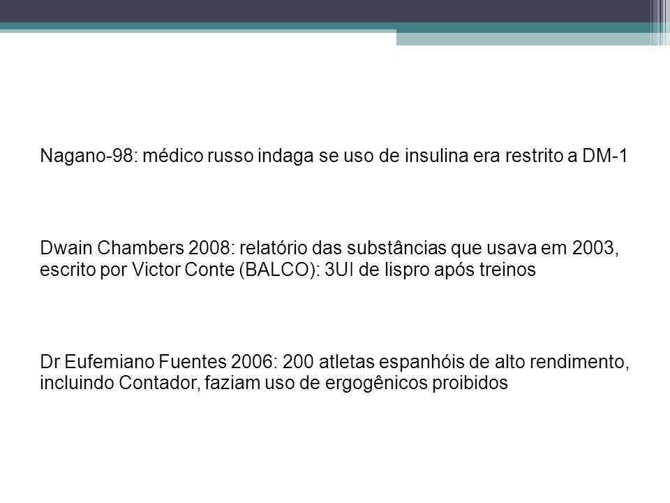 Nagano-98: médico russo indaga se uso de insulina era restrito a DM-1 Dwain Chambers 2008: relatório das substâncias que usava em 2003, escrito por Vi