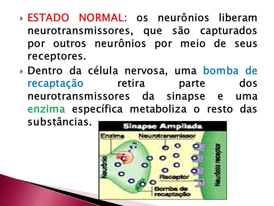 ESTADO NORMAL: os neurônios liberam neurotransmissores, que são capturados por outros neurônios por meio de seus receptores.