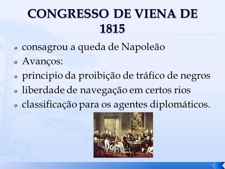 consagrou a queda de Napoleão Avanços: principio da proibição de tráfico de negros liberdade de navegação em certos rios classificação para os agentes
