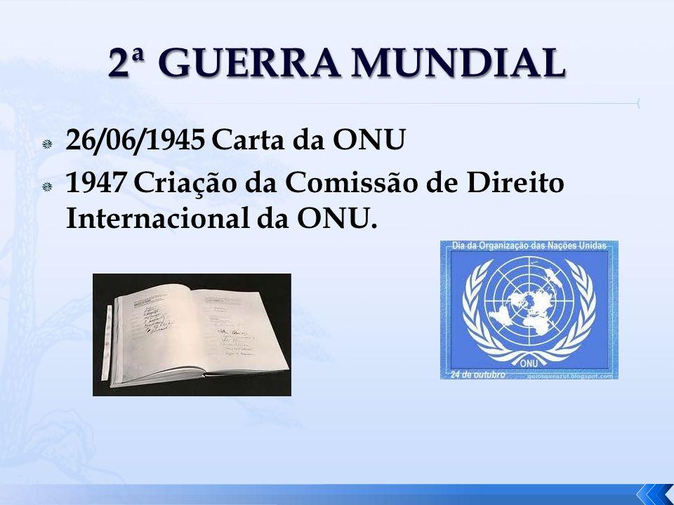 26/06/1945 Carta da ONU 1947 Criação da Comissão de Direito Internacional da ONU.