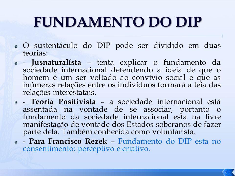 O sustentáculo do DIP pode ser dividido em duas teorias: - Jusnaturalísta – tenta explicar o fundamento da sociedade internacional defendendo a ideia