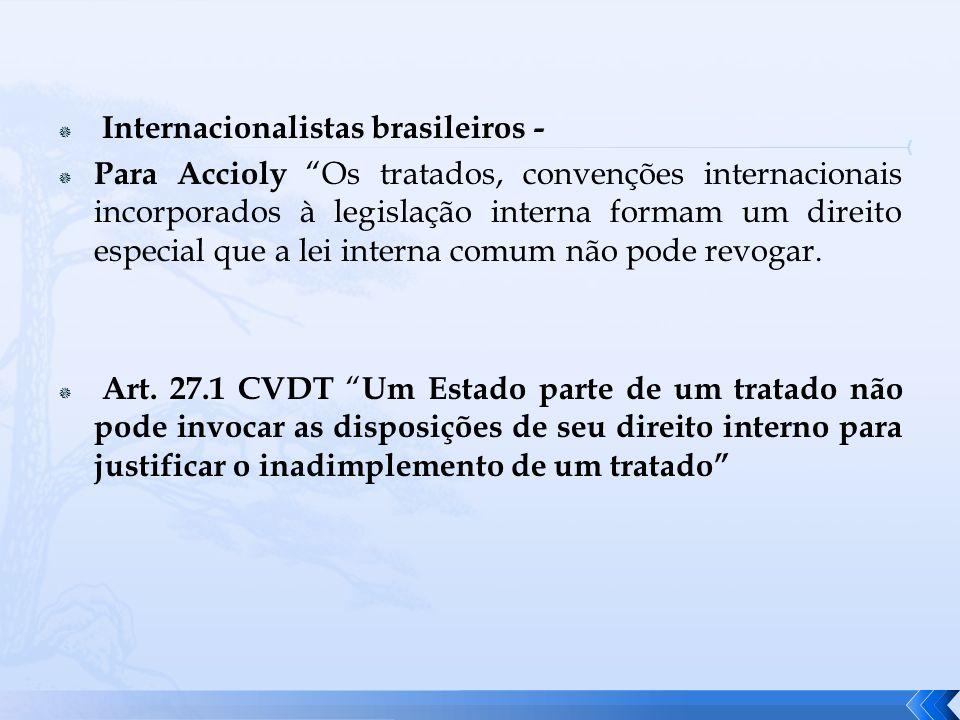 Internacionalistas brasileiros - Para Accioly Os tratados, convenções internacionais incorporados à legislação interna formam um direito especial que