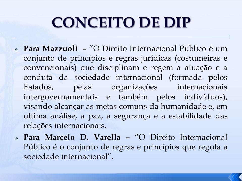 Para Mazzuoli – O Direito Internacional Publico é um conjunto de princípios e regras jurídicas (costumeiras e convencionais) que disciplinam e regem a