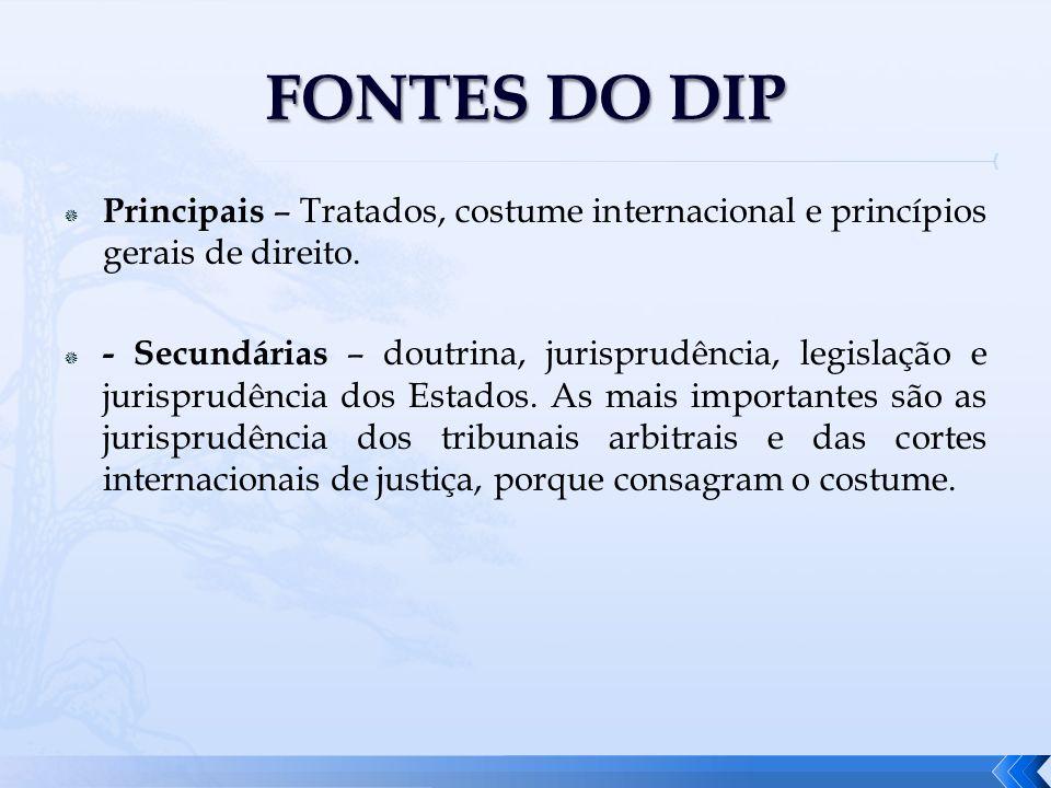 Principais – Tratados, costume internacional e princípios gerais de direito. - Secundárias – doutrina, jurisprudência, legislação e jurisprudência dos