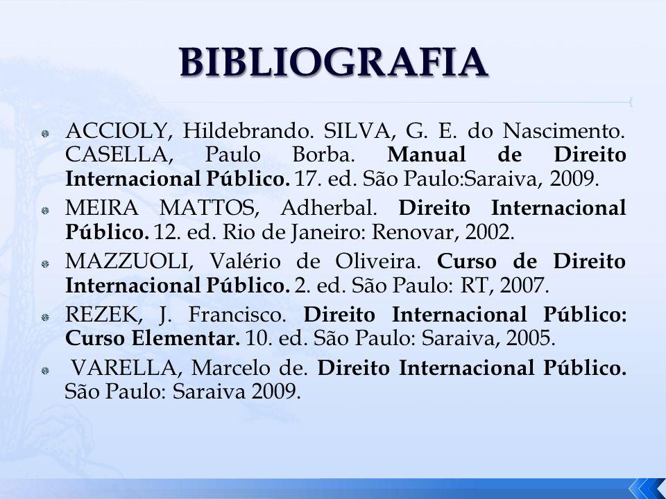 ACCIOLY, Hildebrando. SILVA, G. E. do Nascimento. CASELLA, Paulo Borba. Manual de Direito Internacional Público. 17. ed. São Paulo:Saraiva, 2009. MEIR
