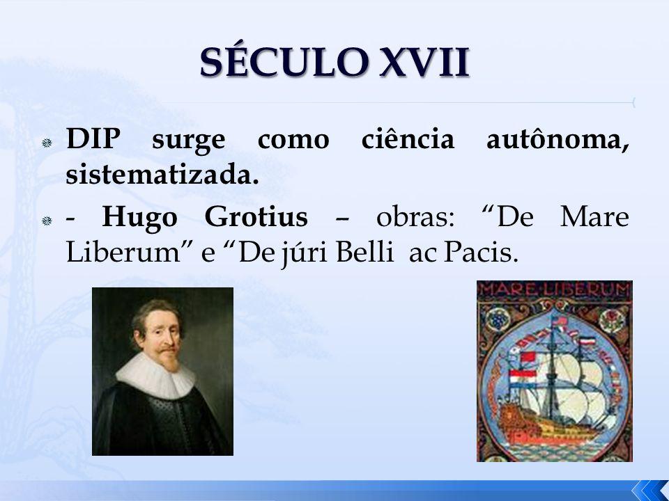 DIP surge como ciência autônoma, sistematizada. - Hugo Grotius – obras: De Mare Liberum e De júri Belli ac Pacis.
