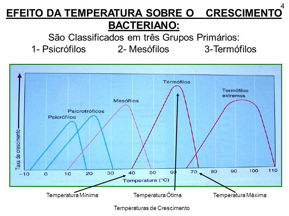 4 EFEITO DA TEMPERATURA SOBRE O CRESCIMENTO BACTERIANO: São Classificados em três Grupos Primários: 1- Psicrófilos 2- Mesófilos3-Termófilos Temperatur