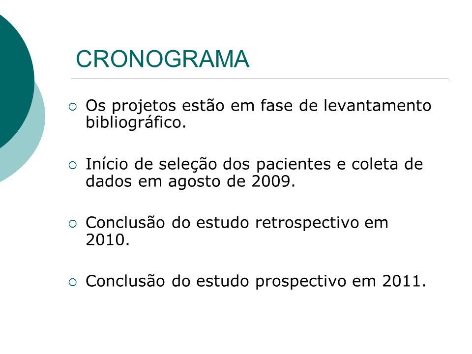 CRONOGRAMA Os projetos estão em fase de levantamento bibliográfico. Início de seleção dos pacientes e coleta de dados em agosto de 2009. Conclusão do