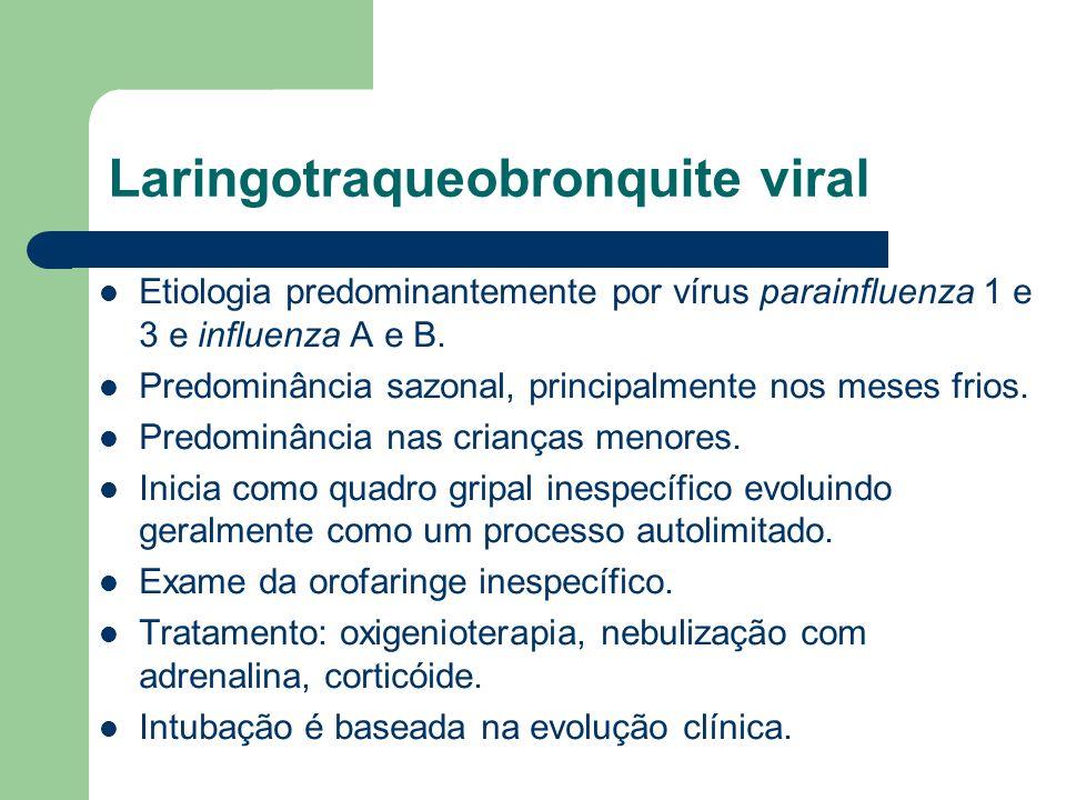 Laringotraqueobronquite viral Etiologia predominantemente por vírus parainfluenza 1 e 3 e influenza A e B. Predominância sazonal, principalmente nos m