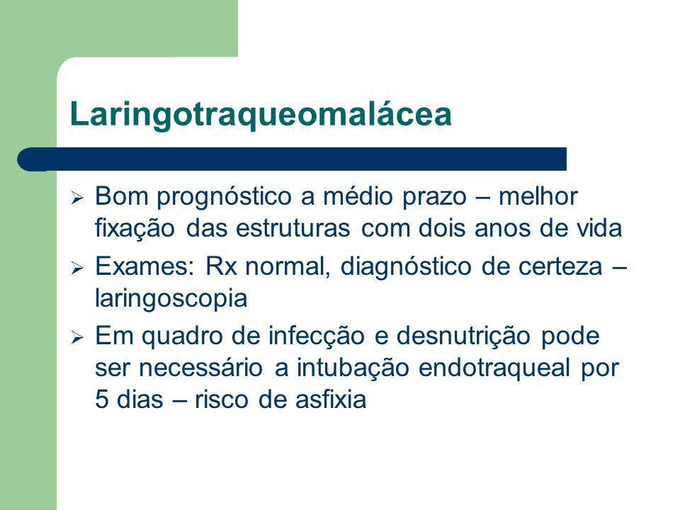 Laringotraqueomalácea Bom prognóstico a médio prazo – melhor fixação das estruturas com dois anos de vida Exames: Rx normal, diagnóstico de certeza –