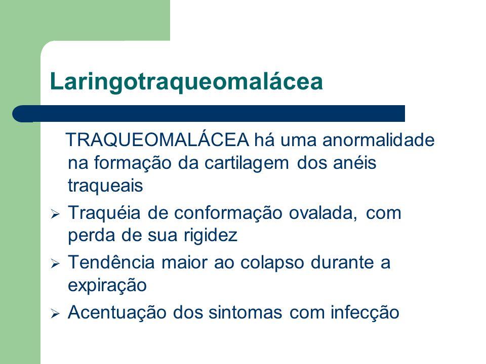 Laringotraqueomalácea TRAQUEOMALÁCEA há uma anormalidade na formação da cartilagem dos anéis traqueais Traquéia de conformação ovalada, com perda de s