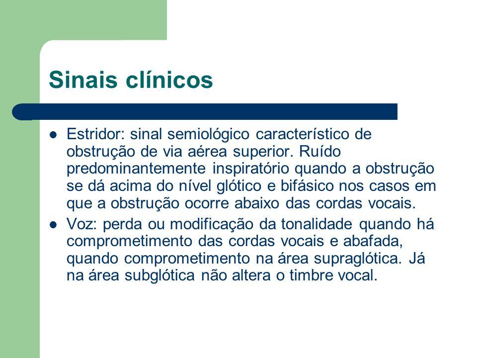 Sinais clínicos Estridor: sinal semiológico característico de obstrução de via aérea superior. Ruído predominantemente inspiratório quando a obstrução