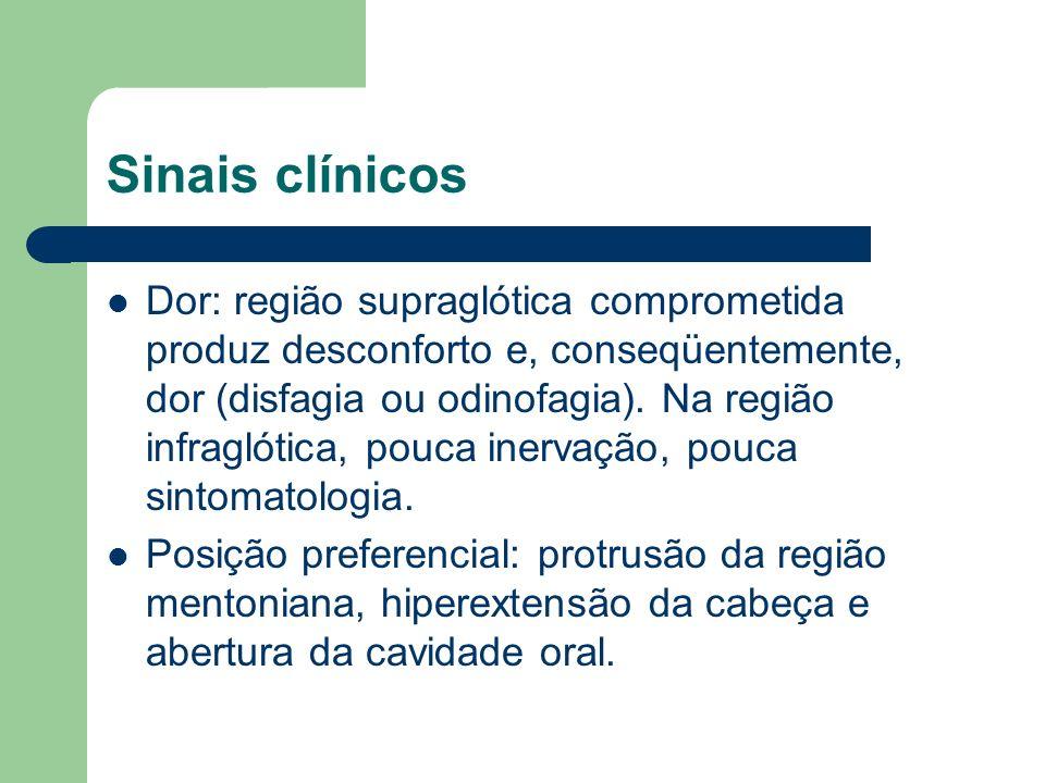 Sinais clínicos Dor: região supraglótica comprometida produz desconforto e, conseqüentemente, dor (disfagia ou odinofagia). Na região infraglótica, po