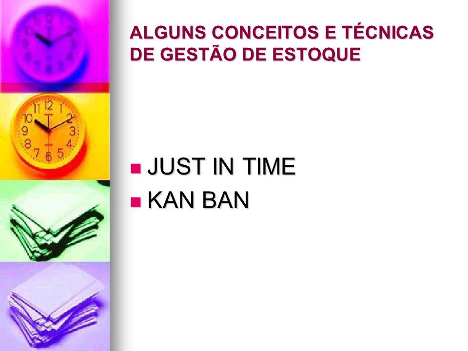 ALGUNS CONCEITOS E TÉCNICAS DE GESTÃO DE ESTOQUE JUST IN TIME JUST IN TIME KAN BAN KAN BAN