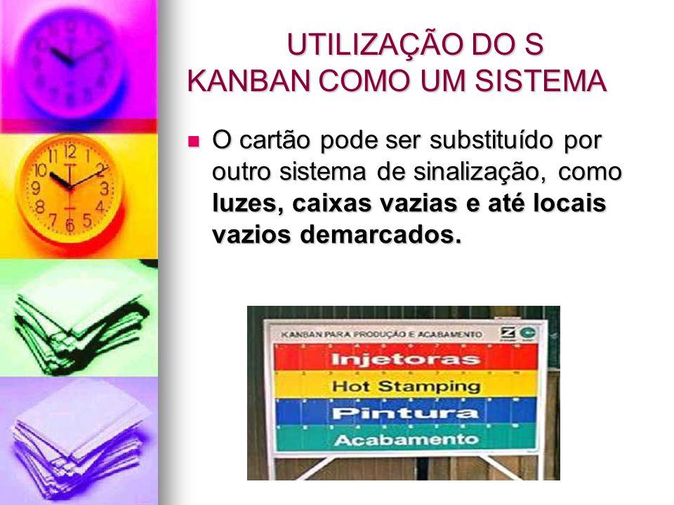 UTILIZAÇÃO DO S KANBAN COMO UM SISTEMA UTILIZAÇÃO DO S KANBAN COMO UM SISTEMA O cartão pode ser substituído por outro sistema de sinalização, como luz