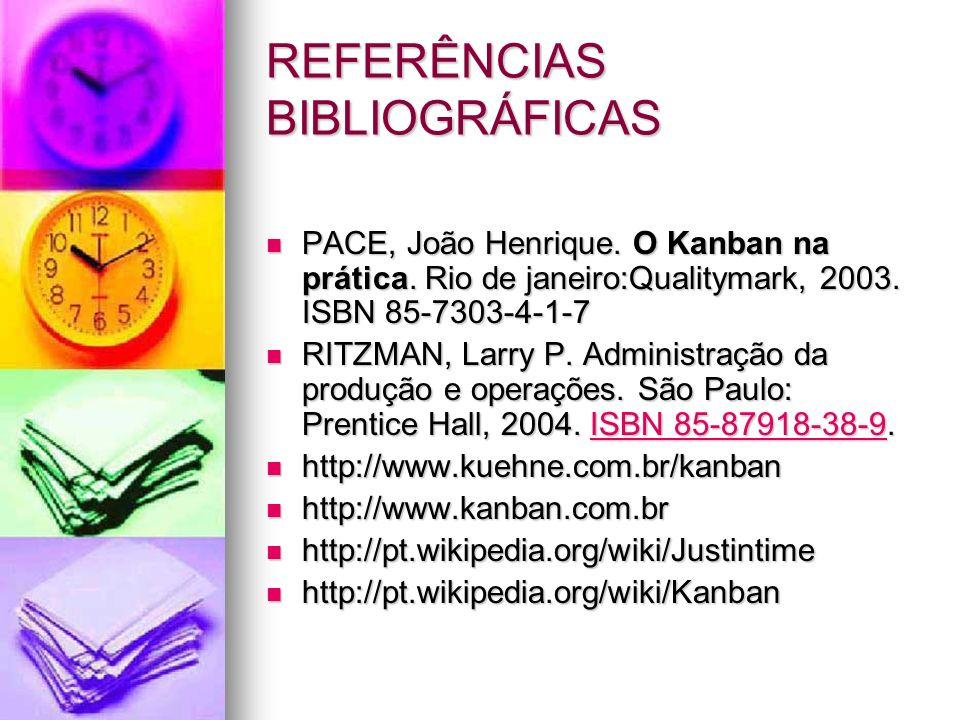 REFERÊNCIAS BIBLIOGRÁFICAS PACE, João Henrique. O Kanban na prática. Rio de janeiro:Qualitymark, 2003. ISBN 85-7303-4-1-7 PACE, João Henrique. O Kanba