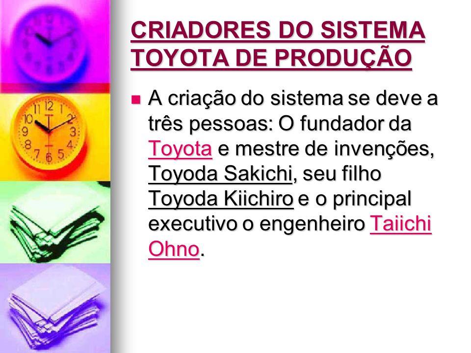 CRIADORES DO SISTEMA TOYOTA DE PRODUÇÃO A criação do sistema se deve a três pessoas: O fundador da Toyota e mestre de invenções, Toyoda Sakichi, seu f