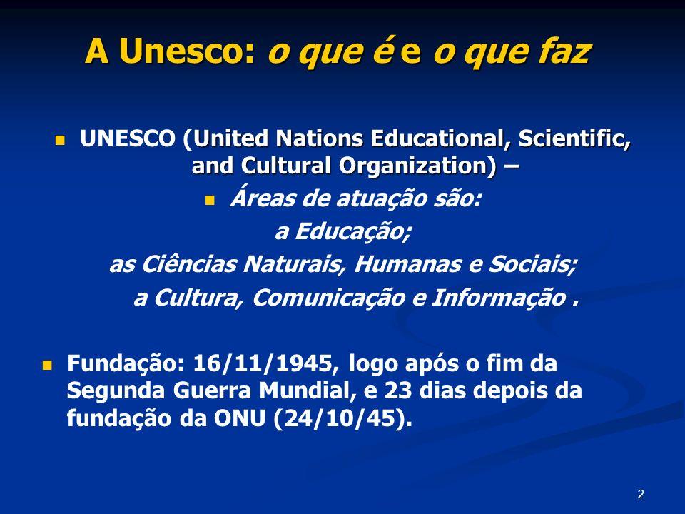 73 (e) o funcionamento da Unesco (cont.) A Unesco está classificada, no volume sobre Organizações Internacionais, de M.Herz & A.Hoffmann (2004), entre os organismos de cooperação funcional, tais como a OMC-Organização Mundial de Saúde e o BM-Banco Mundial, entre outros.