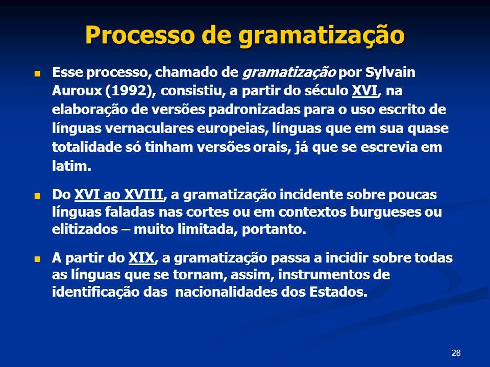 28 Processo de gramatização Esse processo, chamado de gramatização por Sylvain Auroux (1992), consistiu, a partir do século XVI, na elaboração de vers
