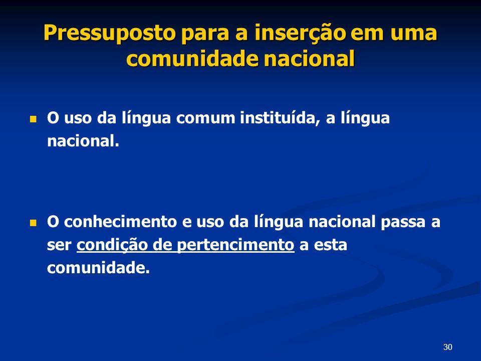 30 Pressuposto para a inserção em uma comunidade nacional O uso da língua comum instituída, a língua nacional. O conhecimento e uso da língua nacional