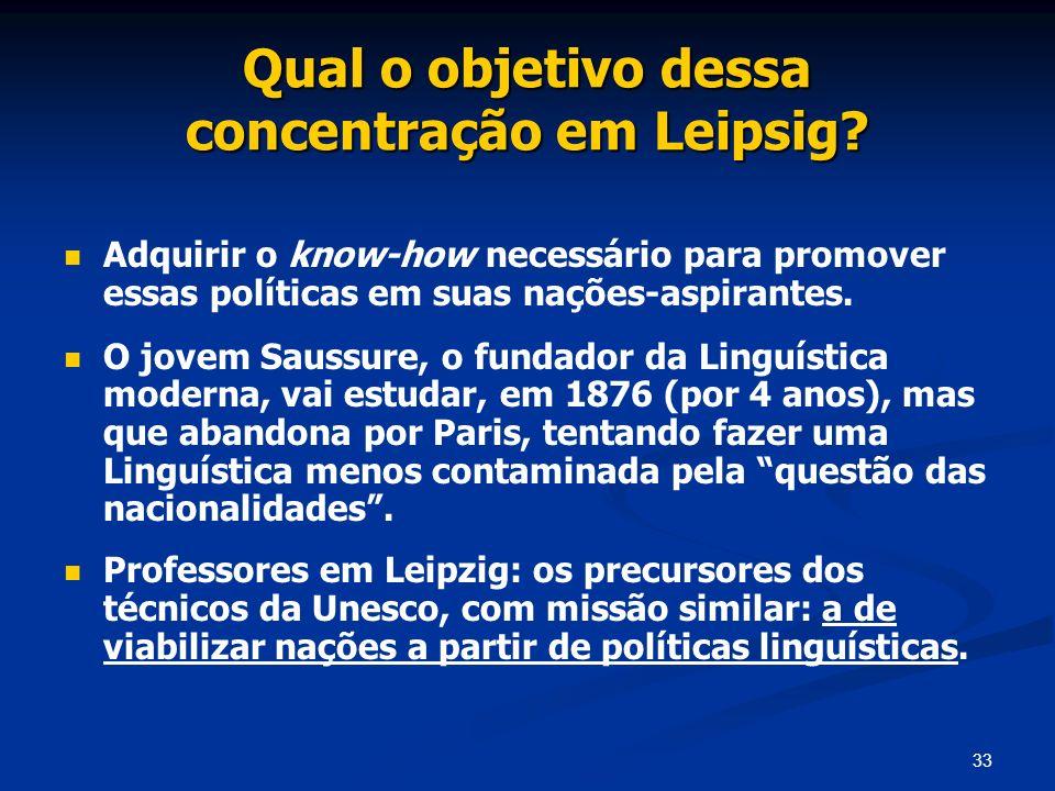 33 Qual o objetivo dessa concentração em Leipsig? Adquirir o know-how necessário para promover essas políticas em suas nações-aspirantes. O jovem Saus