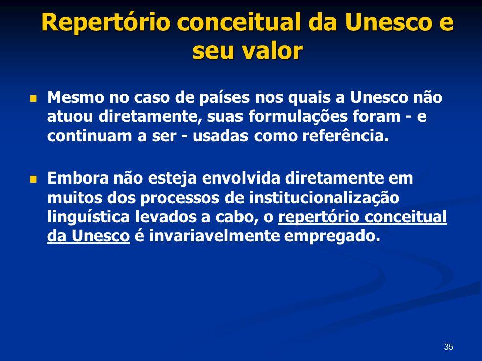 35 Repertório conceitual da Unesco e seu valor Mesmo no caso de países nos quais a Unesco não atuou diretamente, suas formulações foram - e continuam