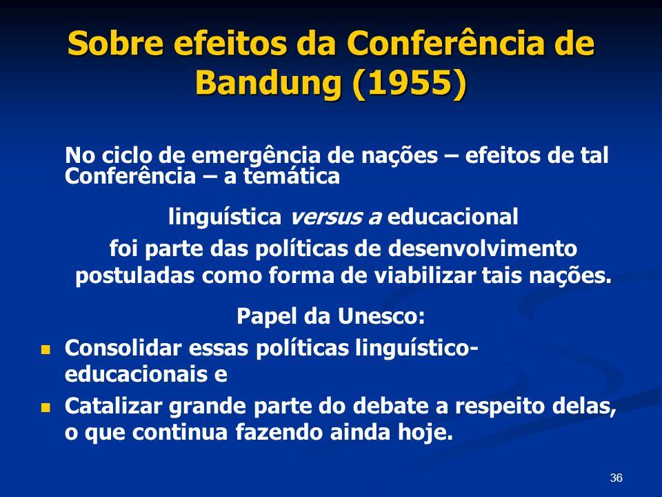 36 Sobre efeitos da Conferência de Bandung (1955) No ciclo de emergência de nações – efeitos de tal Conferência – a temática linguística versus a educ
