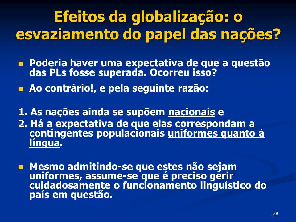 38 Efeitos da globalização: o esvaziamento do papel das nações? Poderia haver uma expectativa de que a questão das PLs fosse superada. Ocorreu isso? A