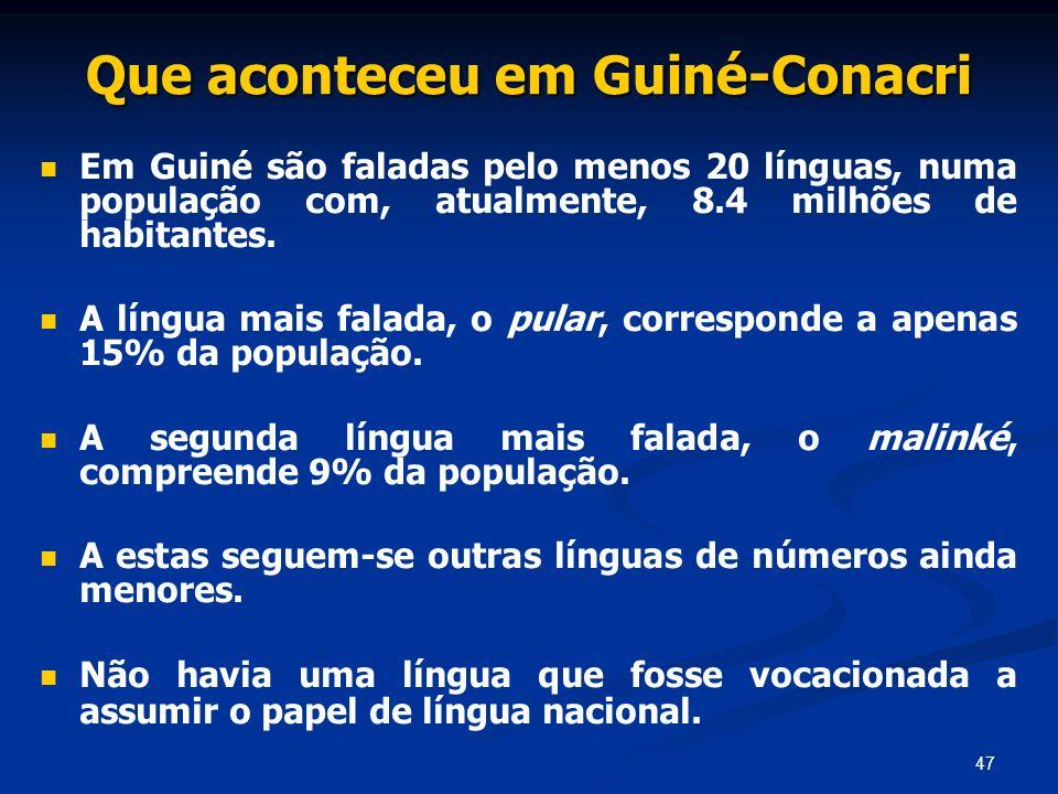 47 Que aconteceu em Guiné-Conacri Em Guiné são faladas pelo menos 20 línguas, numa população com, atualmente, 8.4 milhões de habitantes. A língua mais