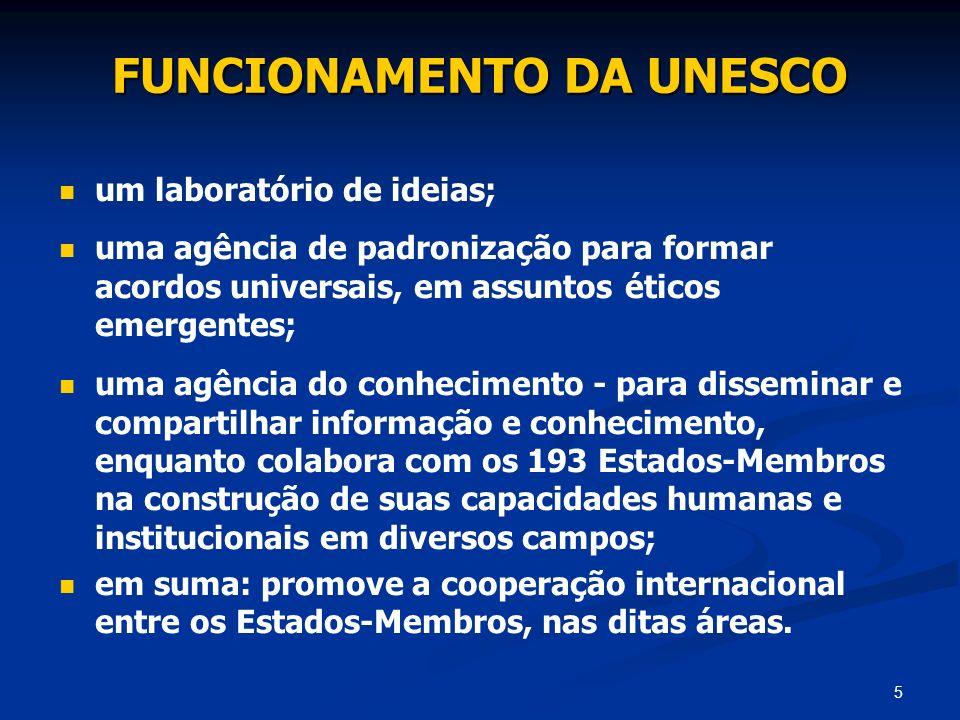 5 FUNCIONAMENTO DA UNESCO um laboratório de ideias; uma agência de padronização para formar acordos universais, em assuntos éticos emergentes; uma agê