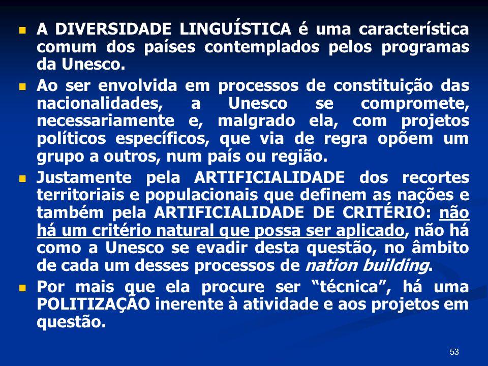 53 A DIVERSIDADE LINGUÍSTICA é uma característica comum dos países contemplados pelos programas da Unesco. Ao ser envolvida em processos de constituiç