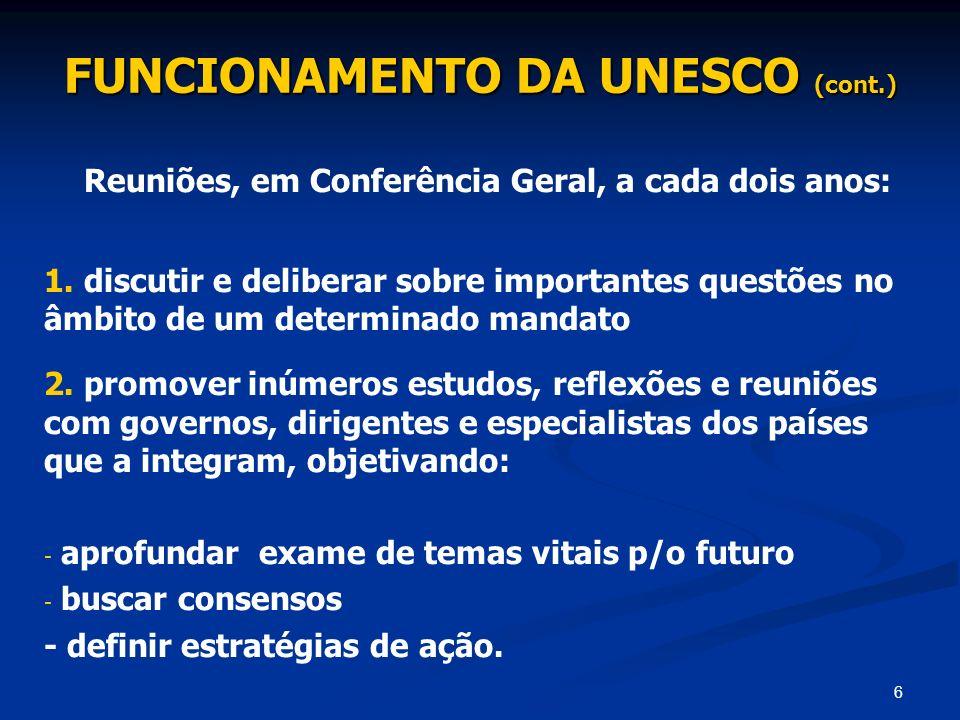 6 FUNCIONAMENTO DA UNESCO (cont.) Reuniões, em Conferência Geral, a cada dois anos: 1. discutir e deliberar sobre importantes questões no âmbito de um