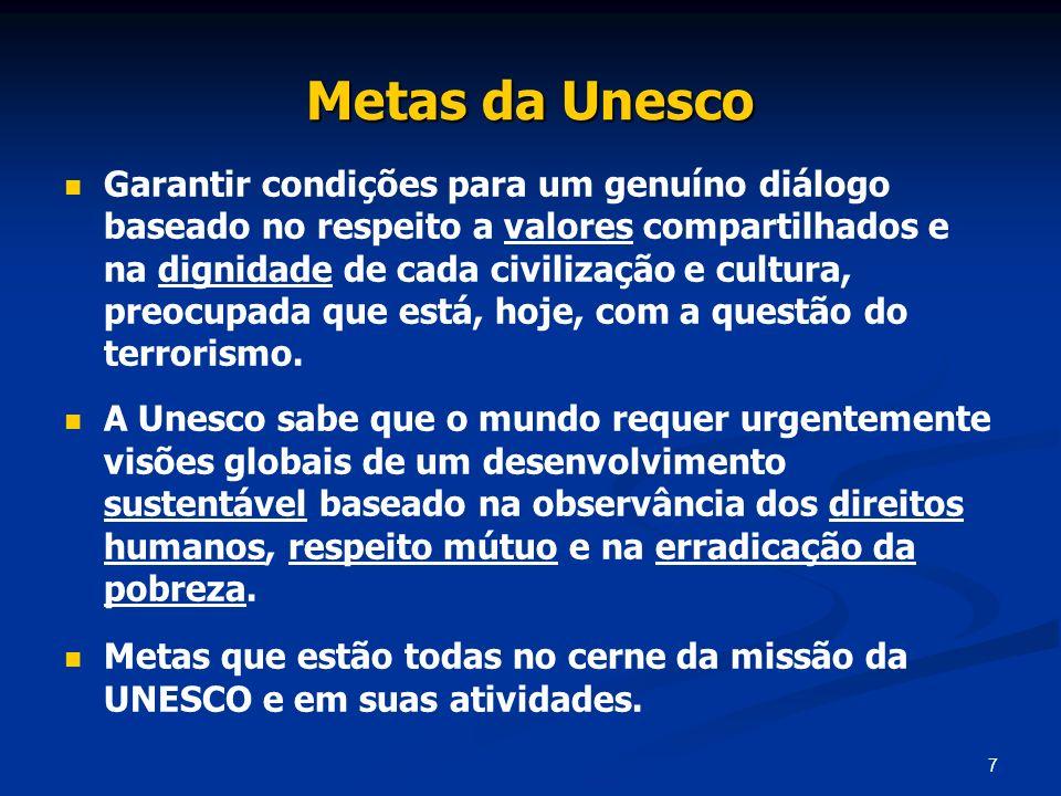 7 Metas da Unesco Garantir condições para um genuíno diálogo baseado no respeito a valores compartilhados e na dignidade de cada civilização e cultura