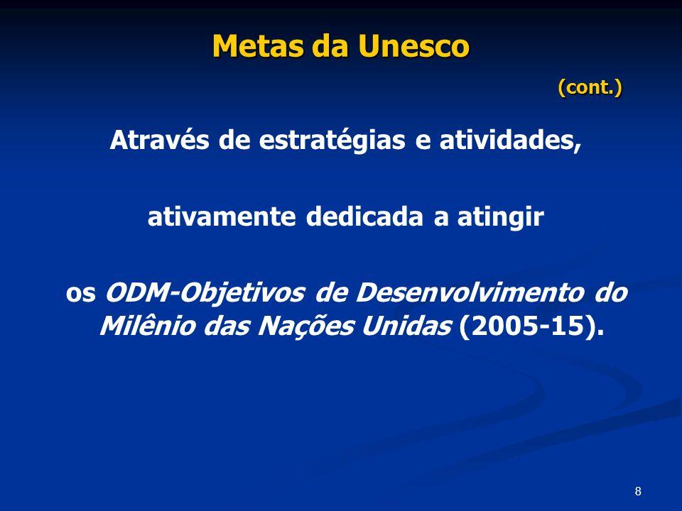 8 Metas da Unesco (cont.) Através de estratégias e atividades, ativamente dedicada a atingir os ODM-Objetivos de Desenvolvimento do Milênio das Nações