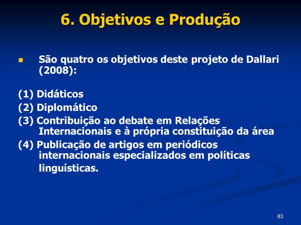 83 6. Objetivos e Produção São quatro os objetivos deste projeto de Dallari (2008): (1) Didáticos (2) Diplomático (3) Contribuição ao debate em Relaçõ