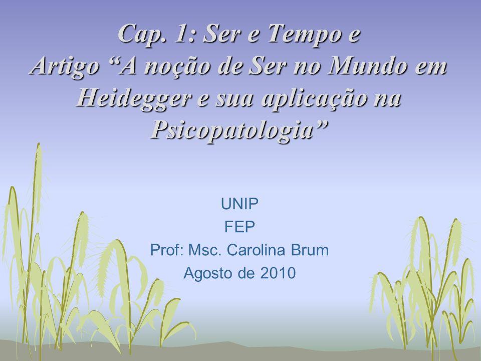 Cap. 1: Ser e Tempo e Artigo A noção de Ser no Mundo em Heidegger e sua aplicação na Psicopatologia UNIP FEP Prof: Msc. Carolina Brum Agosto de 2010