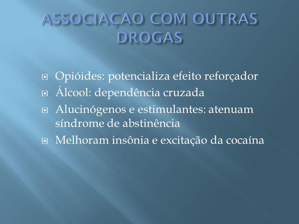 Opióides: potencializa efeito reforçador Álcool: dependência cruzada Alucinógenos e estimulantes: atenuam síndrome de abstinência Melhoram insônia e e