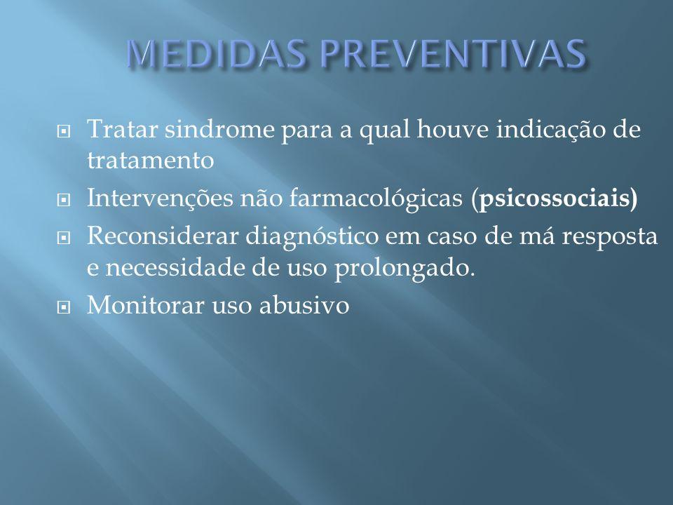 Tratar sindrome para a qual houve indicação de tratamento Intervenções não farmacológicas ( psicossociais) Reconsiderar diagnóstico em caso de má resp