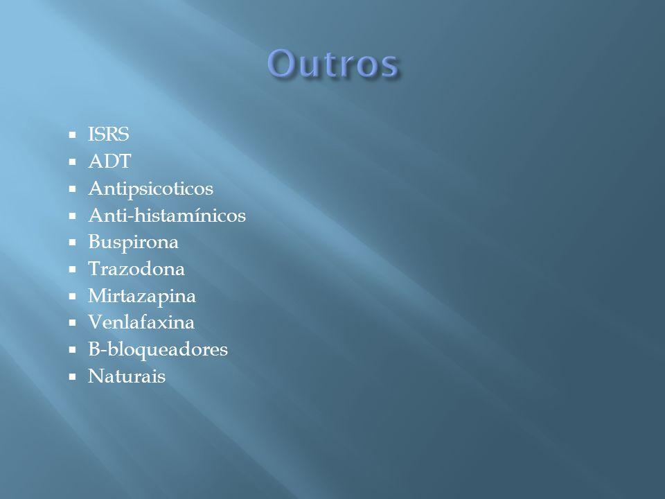 ISRS ADT Antipsicoticos Anti-histamínicos Buspirona Trazodona Mirtazapina Venlafaxina B-bloqueadores Naturais