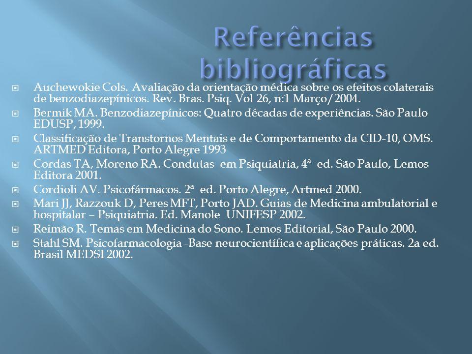 Auchewokie Cols. Avaliação da orientação médica sobre os efeitos colaterais de benzodiazepínicos. Rev. Bras. Psiq. Vol 26, n:1 Março/2004. Bermik MA.
