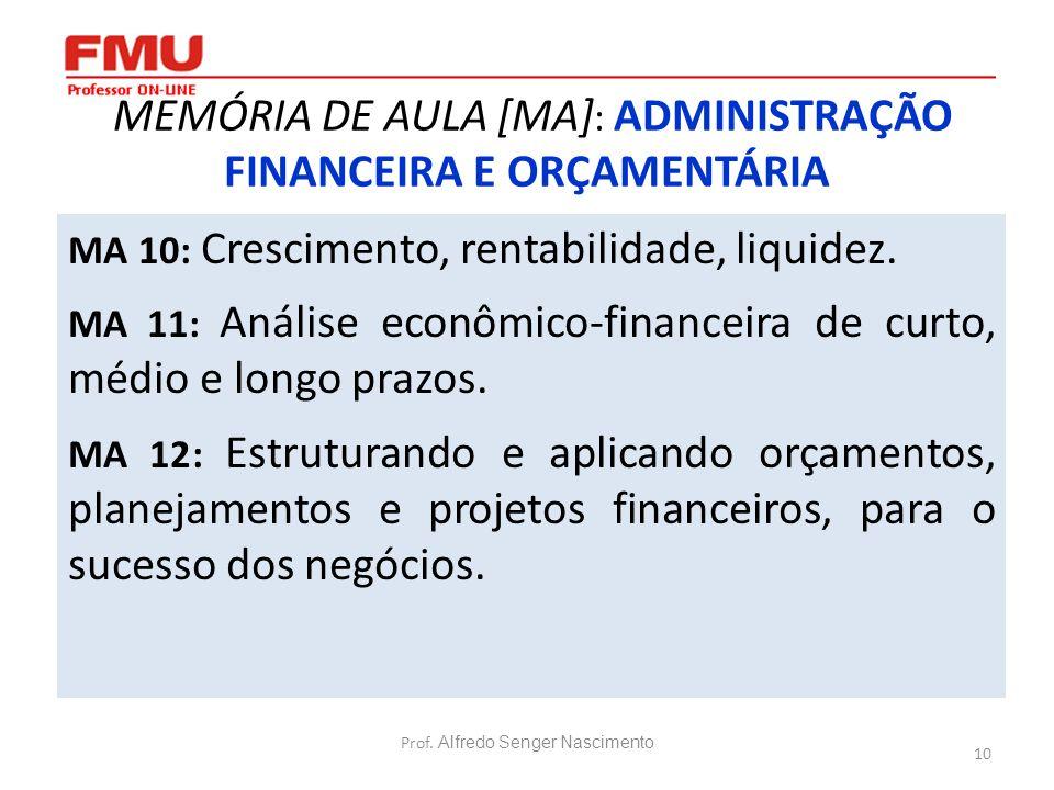 10 MEMÓRIA DE AULA [MA] : ADMINISTRAÇÃO FINANCEIRA E ORÇAMENTÁRIA MA 10: Crescimento, rentabilidade, liquidez. MA 11: Análise econômico-financeira de
