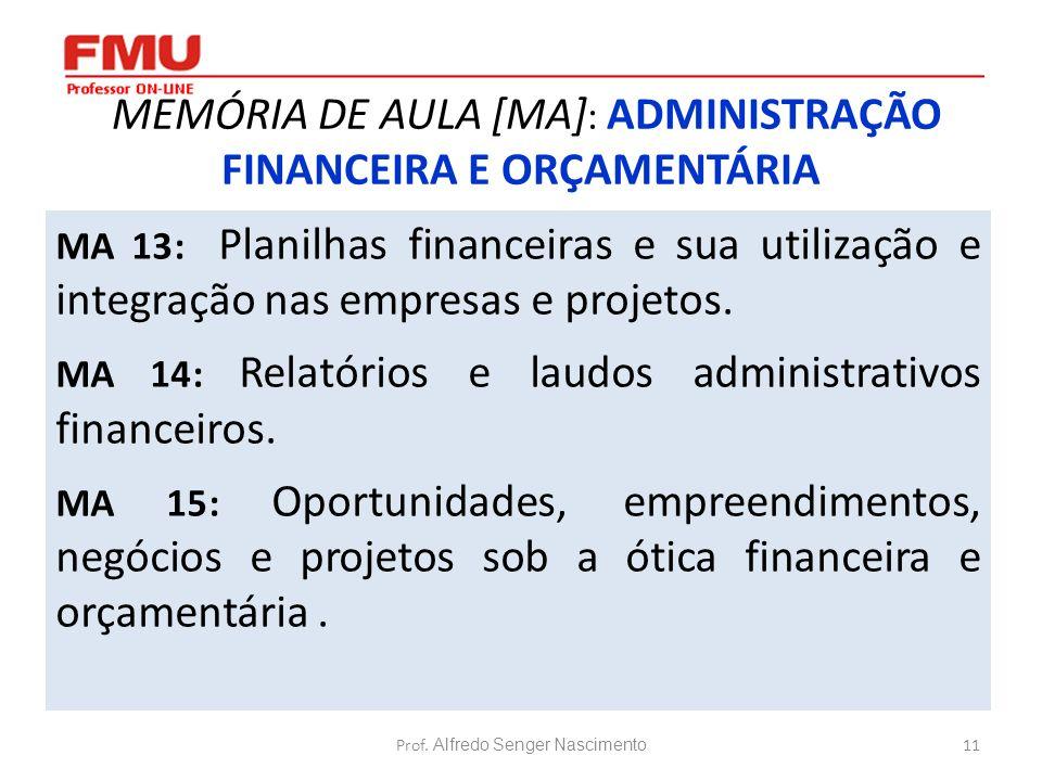 11 MEMÓRIA DE AULA [MA] : ADMINISTRAÇÃO FINANCEIRA E ORÇAMENTÁRIA MA 13: Planilhas financeiras e sua utilização e integração nas empresas e projetos.