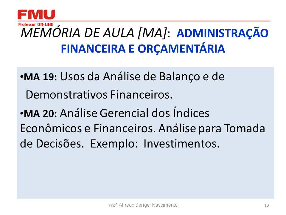 13 MEMÓRIA DE AULA [MA] : ADMINISTRAÇÃO FINANCEIRA E ORÇAMENTÁRIA MA 19: Usos da Análise de Balanço e de Demonstrativos Financeiros. MA 20: Análise Ge