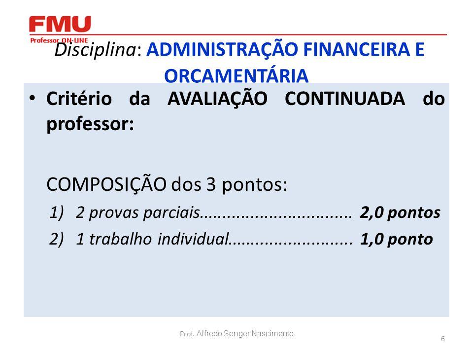 6 Disciplina: ADMINISTRAÇÃO FINANCEIRA E ORÇAMENTÁRIA Critério da AVALIAÇÃO CONTINUADA do professor: COMPOSIÇÃO dos 3 pontos: 1)2 provas parciais.....