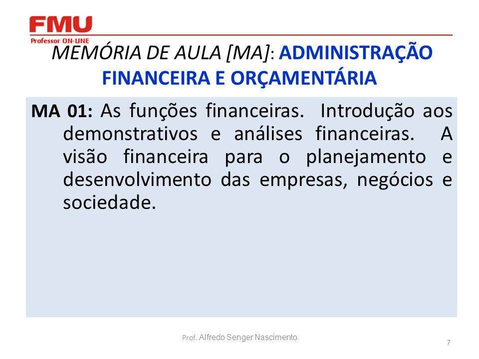 7 MEMÓRIA DE AULA [MA] : ADMINISTRAÇÃO FINANCEIRA E ORÇAMENTÁRIA MA 01: As funções financeiras. Introdução aos demonstrativos e análises financeiras.