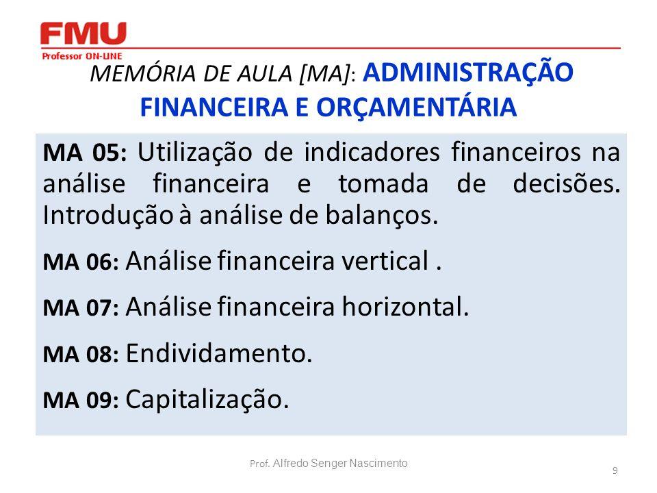 9 MEMÓRIA DE AULA [MA] : ADMINISTRAÇÃO FINANCEIRA E ORÇAMENTÁRIA MA 05: Utilização de indicadores financeiros na análise financeira e tomada de decisõ