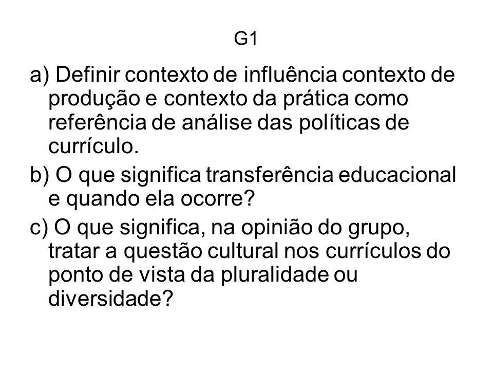 G1 a) Definir contexto de influência contexto de produção e contexto da prática como referência de análise das políticas de currículo.