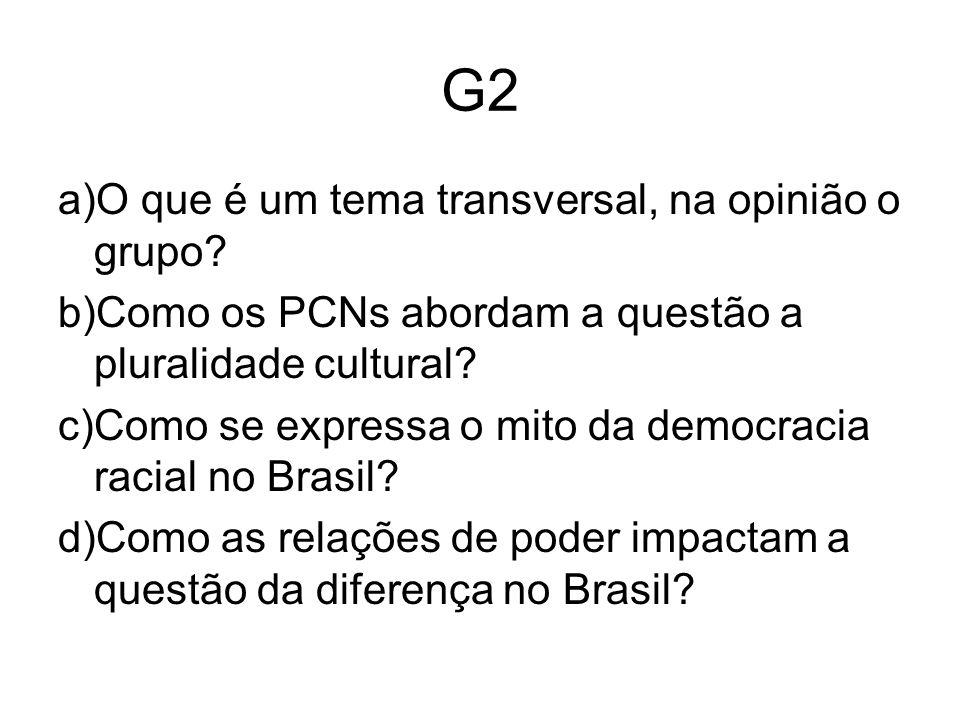 G2 a)O que é um tema transversal, na opinião o grupo.