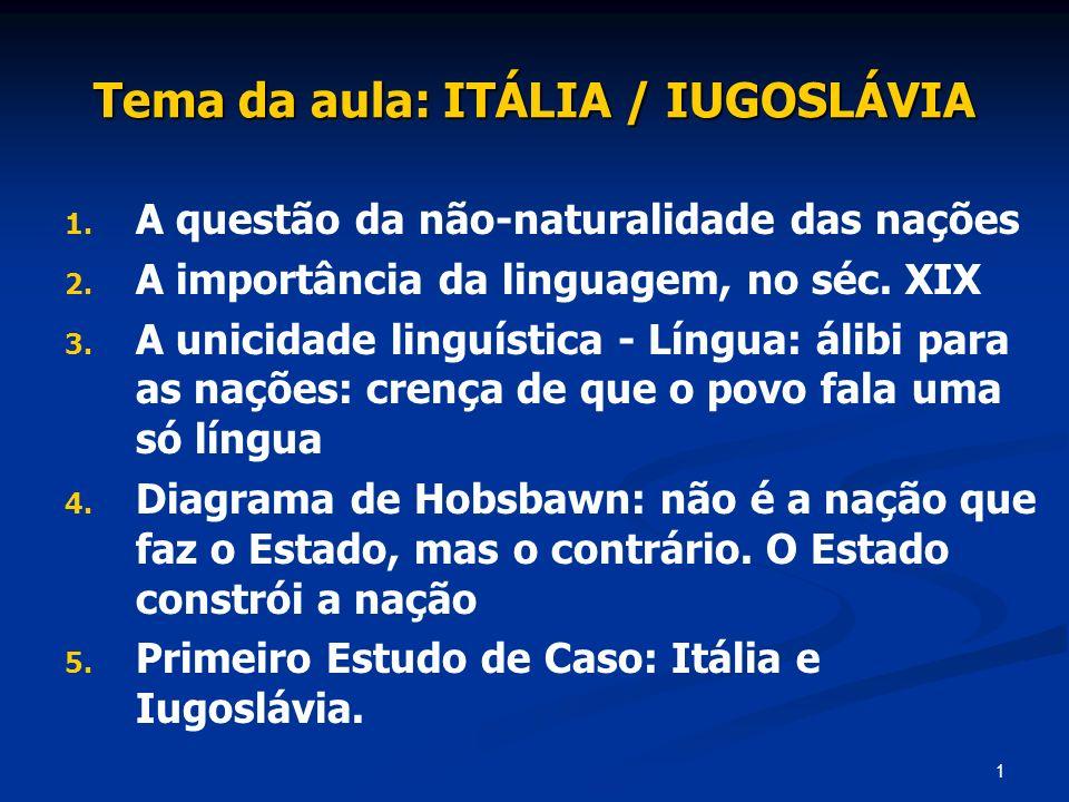 1 Tema da aula: ITÁLIA / IUGOSLÁVIA 1. 1. A questão da não-naturalidade das nações 2. 2. A importância da linguagem, no séc. XIX 3. 3. A unicidade lin